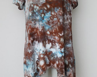 Tie dye Women's tunic handkerchief style Ice Dyed - Size Small - Water's Reflection crinkle