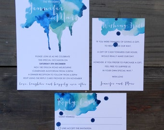 Blue watercolor wedding invite, Invitation Suite, Blue watercolour, Watercolour