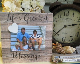 "Wood Picture Frame, ""Life's Greatest Blessings"", Magnetic Picture Frame, Family Photograph Frame"