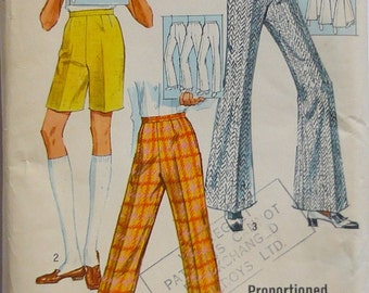 Vintage Sewing Pattern/ Simplicity 8289 .1969 trouser/pants  pattern. waist 27""