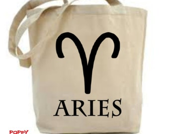 Zodiac Bag, Aries Bag, Gift For Aries, Astrology Symbol, Astrology Bag, Zodiac Gift, Astrology Gift, Shopping Bag, Zodiac Sign
