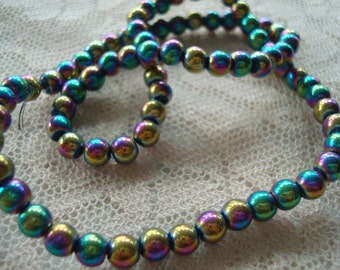 "78 Rainbow Coated Glass Rounds. 4.5mm Metallic Aurora Borealis Electroplated Glass Beads. 13"" Strands  ~USPS Ship Rates"