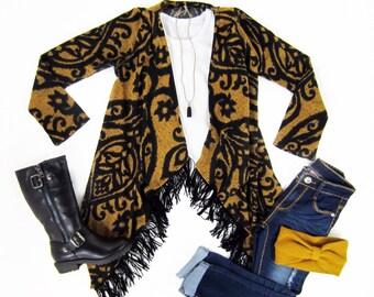Girls Mustard Print Fringe Cardigan Sizes 4/5, 6/6x, 7/8, 10/12, 14-Ready to Ship