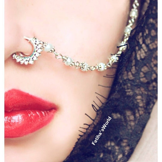 Vintage Indian Diamante Nath Nose Chain Celebrity by ...