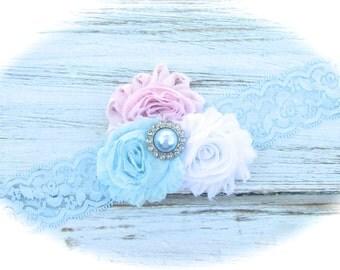 Shabby Chic Lace Headband, Shabby Chic Headband, Baby Headband, Infant Headband, Blue Headband, Easter Headband, Pink Headband, Headband