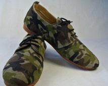 Size UK7.5 US10 EU41: Ladies Handmade Oxford Style shoe. Unique camouflage print on soft textured Leather.