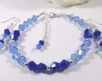 Sapphire Blue and Light Blue Swarovski Crystal Bracelet and Earrings