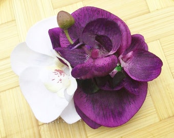 Rockabilly Pin Up Purple & white Double Orchid hair Flower Fascinator