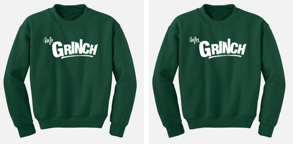Grinch green -  Mr. and Mrs. Grinch Ugly Christmas Sweatshirt Set -  Sweater Flex Fleece Pullover