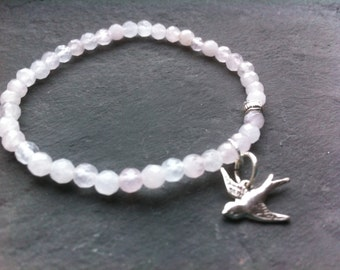 Rose quartz  bracelet,  sterling silver, swallow, gemstones, healing bracelet, chakra bracelet, protection