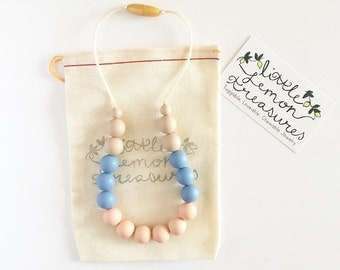 Toddler Teething Necklace, Little Girls Jewelry, Silicone Teething Necklace, Rose Quartz Silicone Chew Necklace