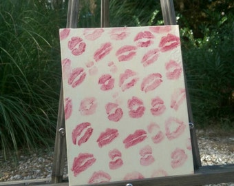 Hand Painted 8x10 Glitz and Glam 'Lipstick Graffiti' Canvas