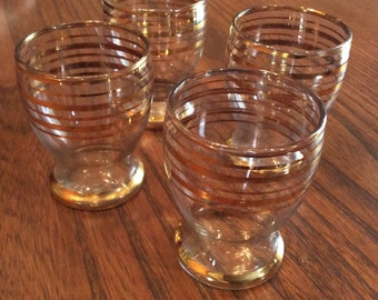 Vintage gold trim shot glass set of four