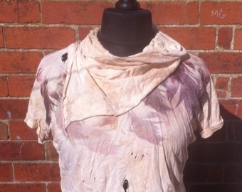 Distressed Cropped Feather Tshirt, wasteland costume, post apocalypse costume