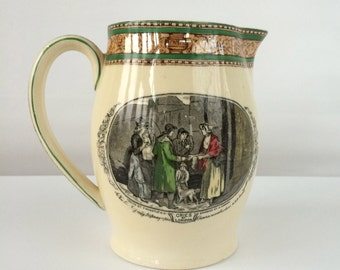 Vintage William Adams China Pitcher - Cries of London, green rim | 28 ounce pitcher, Francis Wheatley painting, english earthenware pitcher