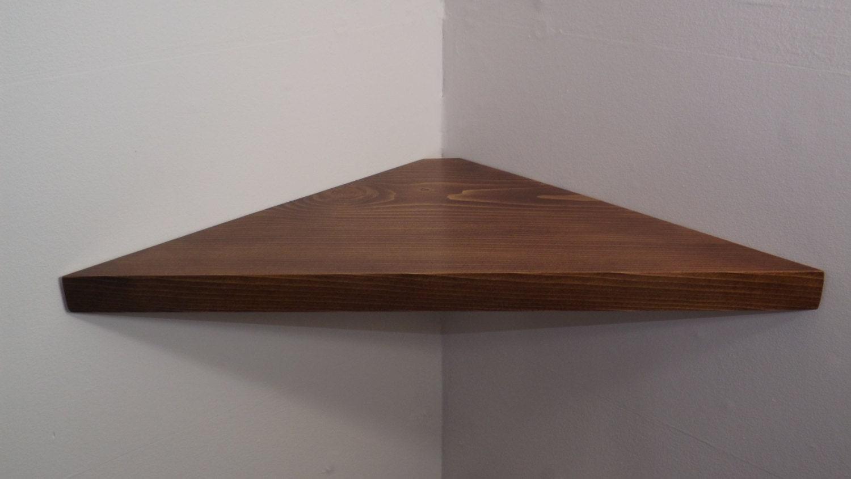 24 inch floating corner shelf with dark walnut stain handmade for Cheap floating shelves