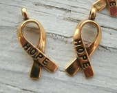 Cancer Ribbon Hope Charms - Gold or silver Cancer Awareness Charms ,Hope charms, set of 8,  gold for Childhood Cancer awareness