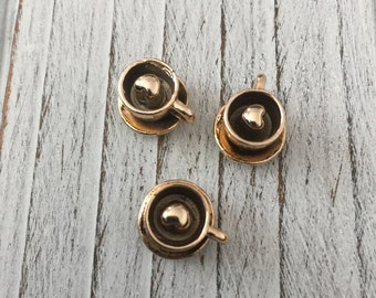 Alloy Coffee Cup Charms, Golden - 2 pieces