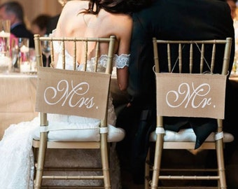 Mr and Mrs Chair Signs Vintage Wedding Signs Rustic Wedding Banners  Burlap Wedding Chair Signs for Groom and Bride