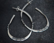 Sterling Silver Organic Filigree Hoop Earrings
