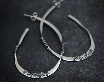 Hoop Earrings, Silver Hoop Earrings, Filigree Hoop Earrings, Organic Hoop Earrings, Unusual Hoop Earrings, Sterling Silver,