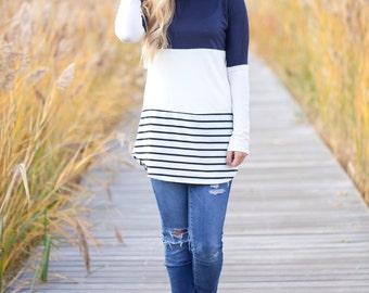 Navy stripe Long Sleeve Top
