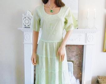 Unworn Hand sequin embroidered Pale green Indian dress  Boho wedding dress Hippie dress Festival Pale green dress Beach Summer A1279