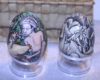Two Vintage Hand Painted Eggs Black and White Koi Fish and Boys with Roosters