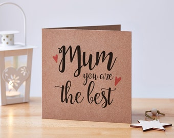 Best Mum Card, Mother's Day Card, Mothers Day Card, Best Mom Card, Mums Day Card, Mum Card, Mom Card, Just Because Card, Recycled Card