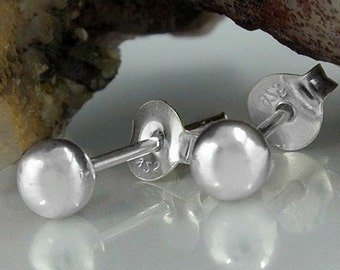 4mm Ball Stud Earrings, silver 925