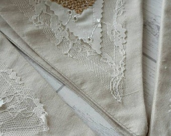 Vintage Style Shabby Chic cotton and lace bunting - Wedding Bunting - Garden Party Bunting