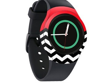 Skin Decal Wrap for Samsung Gear S2, S2 3G, Live, Neo S Smart Watch, Galaxy Gear Fit cover sticker Red Chevron