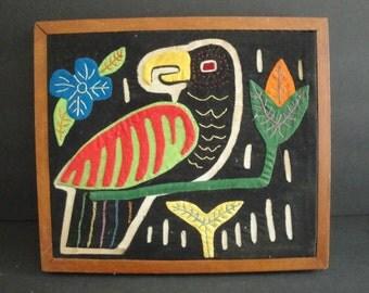 Vintage Kuna Island Folk Parrot MOLA Art Applique work Wall Art