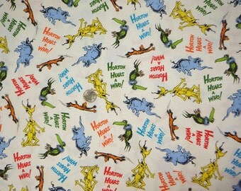 Robert Kaufman - Dr. Seuss - Horton Hears a Who - 15379 - Toss on White - 1 yard fabric