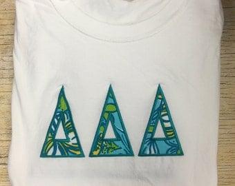 Delta Delta Delta Lilly Pulitzer Raised Letters Tshirt