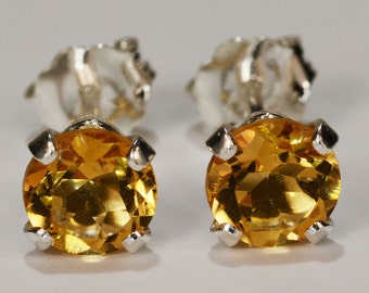 Yellow Citrine Earrings~.925 Sterling Silver Setting~5mm Round~Genuine Natural Mined