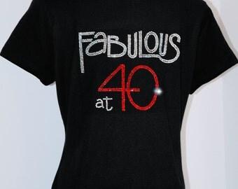 Fabulous at 40 Rhinestone T-Shirt