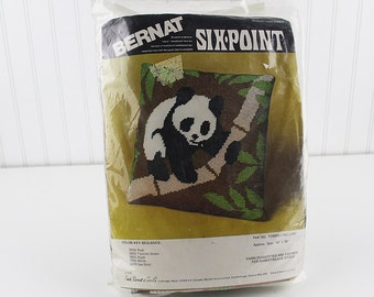 Panda Ling Ling Pillow Six Point Quick Needlepoint Kit, K190