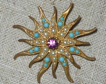 Vintage starburst brooch 1940s - 1950s