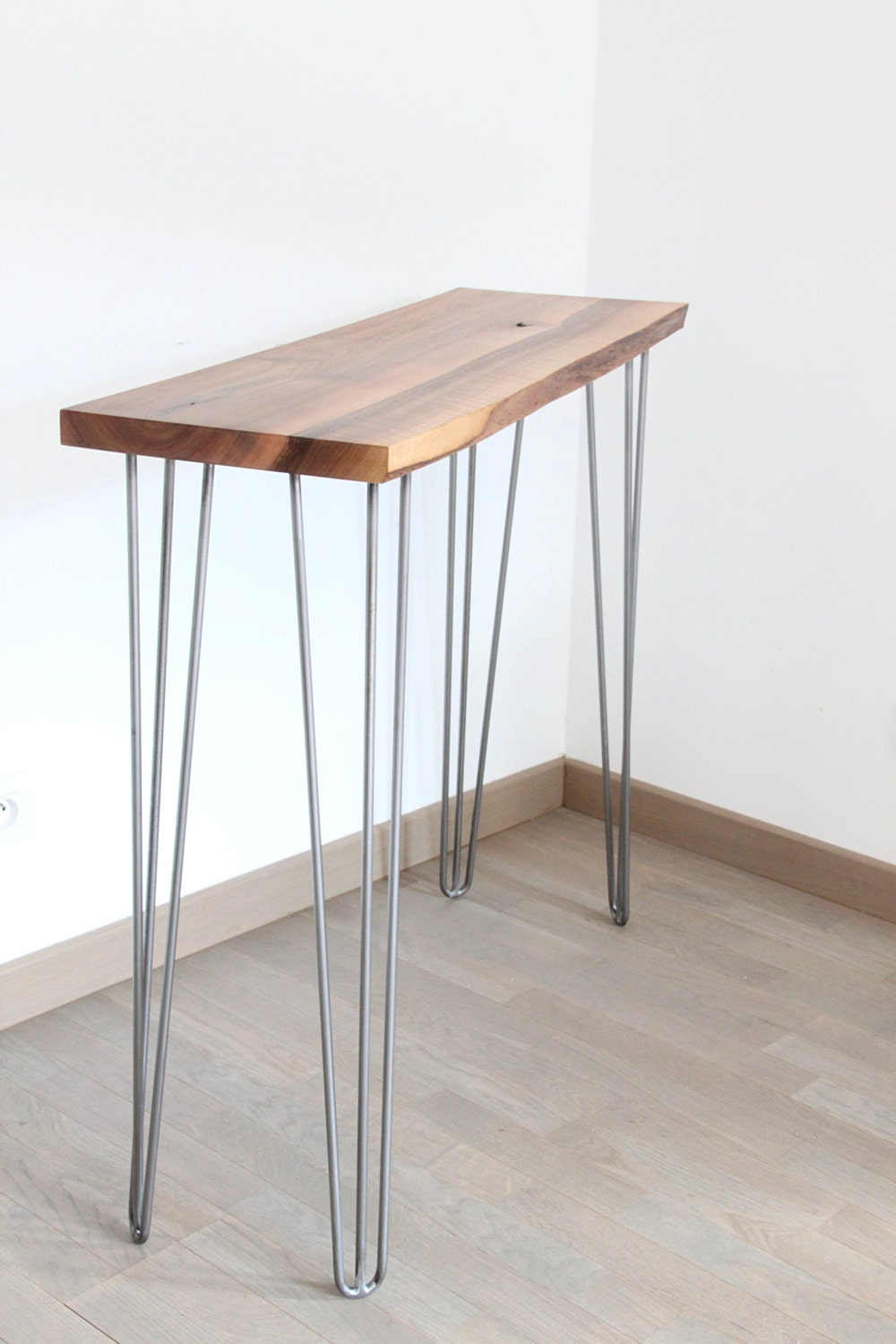 Console solid wood and steel hairpin legs for Table cuisine 1 pied