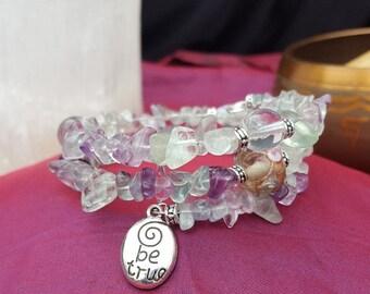 Fluorite and Vintage Glass Bead Bracelet --OOAK
