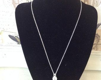 Sterling Silver Plated Necklace with solitaire drop detail
