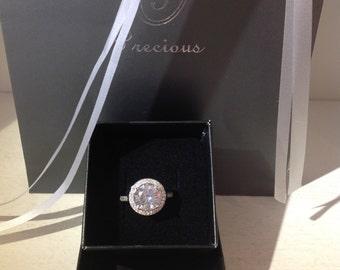 Halo Shaped Silver Zopius Diamond Ring