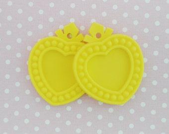 51mm HUGE Kawaii Yellow Heart Shaped Cameo Setting Flatback Pendant Decoden Cabochon - 2 piece set