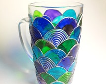 Mermaid Coffee Mug, Hand Painted Coffee Mug,  Mermaid Design Glassware, Coffee Mug Gift
