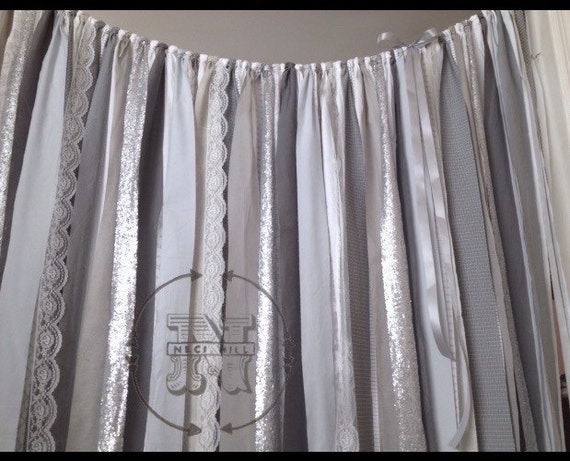 Gray Industrial Curtain Steel Garland Urban Chic Boho Silver