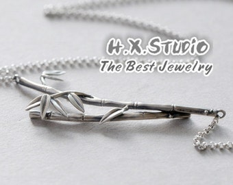 Handmade Silver Bamboo Necklace, Silver Bamboo Pendant, Anniversary, Birthday, Christmas, Gift, Wholesale Available