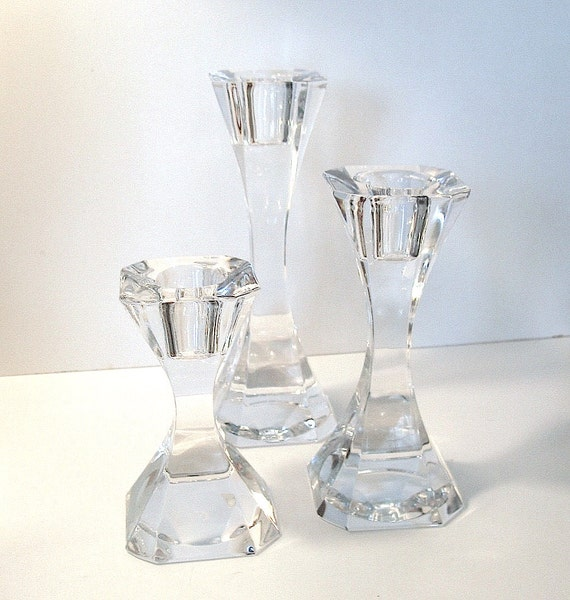 Vintage villeroy bosch crystal trio candleholders for Bosch and villeroy
