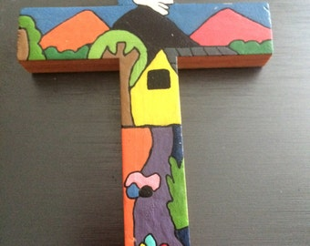 Hand crafted, painted cross from San Salvador cooperative, walll mount