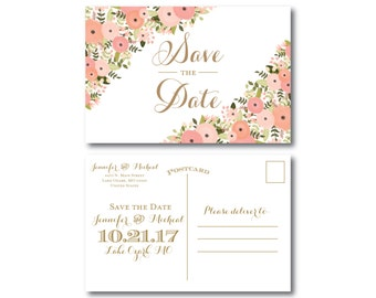 Vintage Wedding Save the Date - Fall Wedding - Vintage Floral - Floral Wedding - Vintage Wedding - Save the Date - Wedding Postcards #CL171